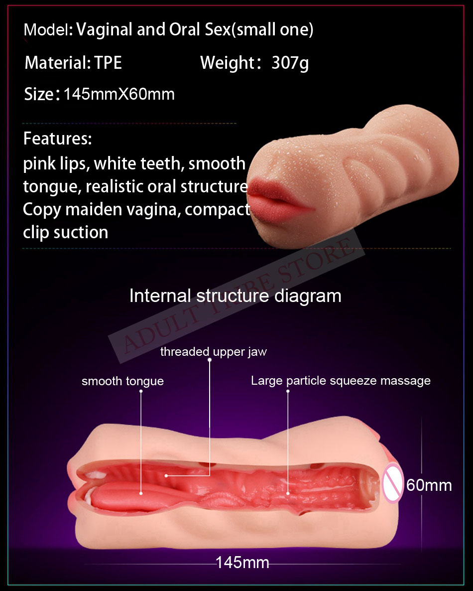 Realistic Oral 3D Deep Throat with Tongue Teeth Maiden Artificial Vagina Male Masturbators Pocket Pussy Oral Sex Toys for Men 19